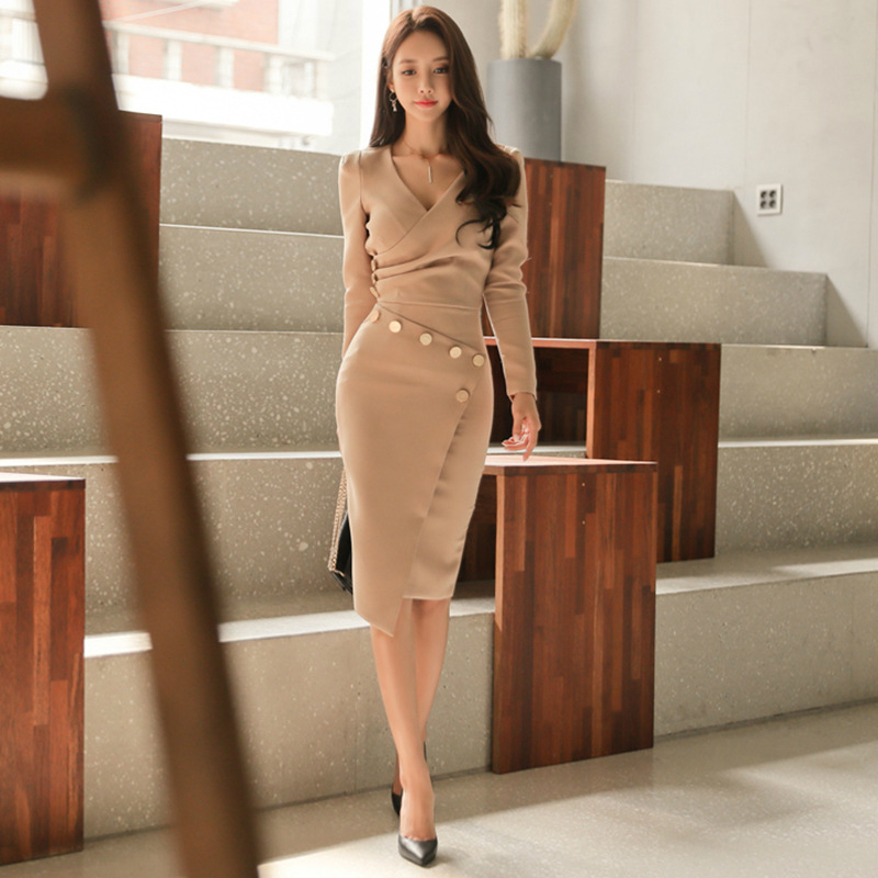 Women 2 Piece Set Solid Office Dress Plus size 2018 Spring Bandage Bodycon Dress V-Neck Long Sleeve Sexy Party Dress Vestidos long sleeve sweater dress solid knitted side slit high waist vestidos women spring bodycon sexy dress midi dress female clothing