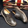 authentic Retro men Leather shoes brush color tooling grey brown black men casual shoes 2016