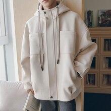 2018 Original Oversize Outerwear Woolen Hat Loose Coats Casual Bomber Streetwear Jackets In Warm Solid Color Windbreaker M-XL