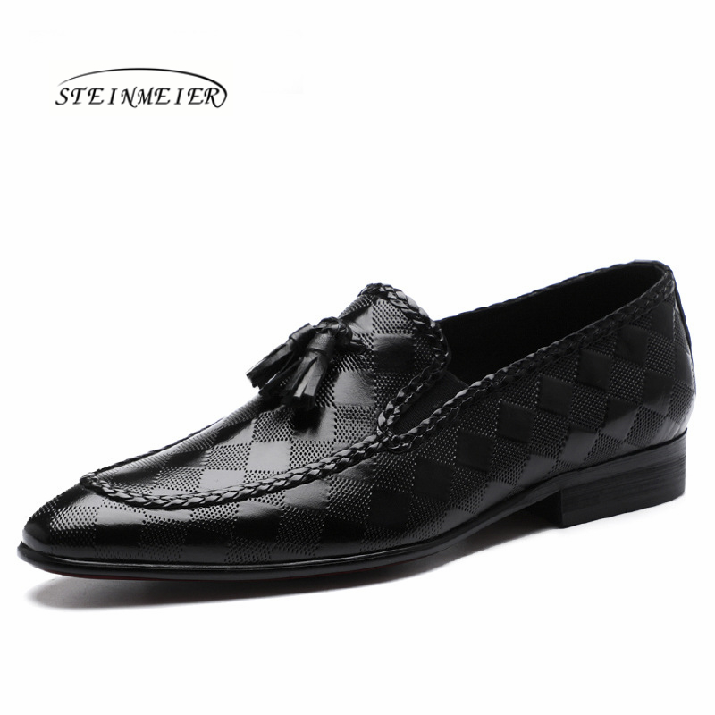 Genuine leather men brogue Business Wedding banquet shoes mens casual flats shoes vintage handmade oxford shoes