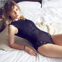 JYF Brand Vintage Sexy Onesies Ultra Thin Lace Sleeveless Sleepwear Backless Transparent Mesh Cozy Soft High