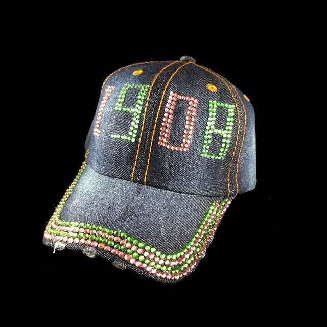c2d4859f Wholesale crystal stone Point AKA Sorority letters style Glass denim caps  women custom baseball cap Hat