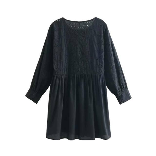 Vadim Femmes Evider Broderie Mini Robe Boule De Fourrure A Manches Longues Plissee Femme Casual Chic Robes Droites Robes Qa905 Aliexpress