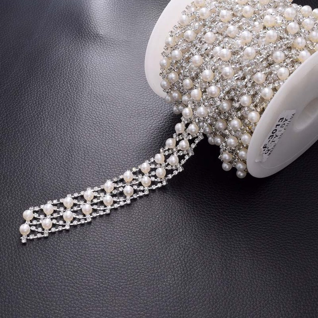 DIY 5Yards Atmosphere White Pearl Rhinestone Trim Appliques Bridal Dress  Belt Sash Sew on Flat Back Silver Accessory HF-3012 f95aaeaf2c72