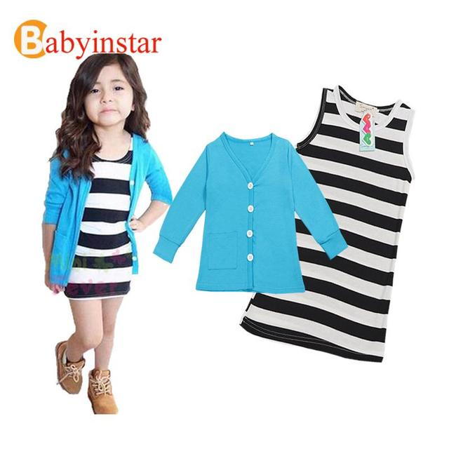 Value Product 2016 Girls Set Kids Clothes Striped Girls Dress + Long Sleeve Blue Tops Coat 2Pcs Children Outfits Kids Set