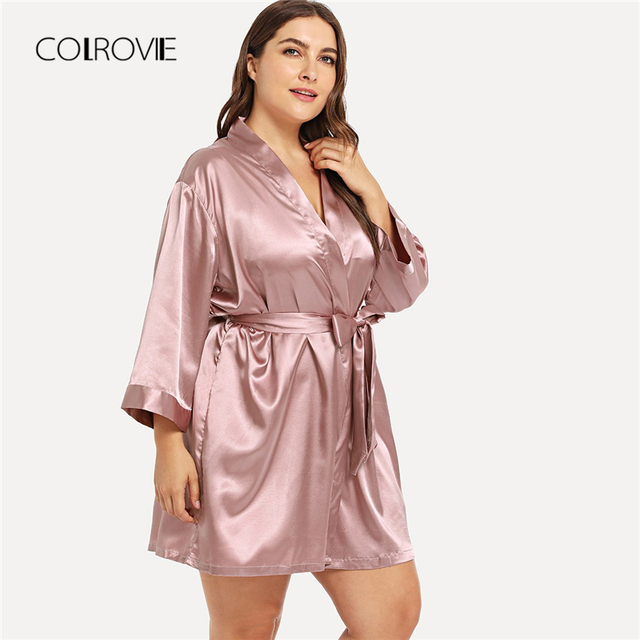 fca8ed197c COLROVIE Plus Size Pink Self Belted Knot Robe Women Dressing Gown Kimono  Nightgown 2018 Female Nightdress Sleepwear Pajamas