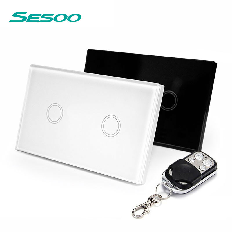 US Standard SESOO Remote Control Switch 2 Gang 1 Way ,RF433 Smart Wall Switch, Wireless remote control touch light switch funry eu uk standard wireless remote control light switches 2 gang 1 way remote control touch wall switch for smart home