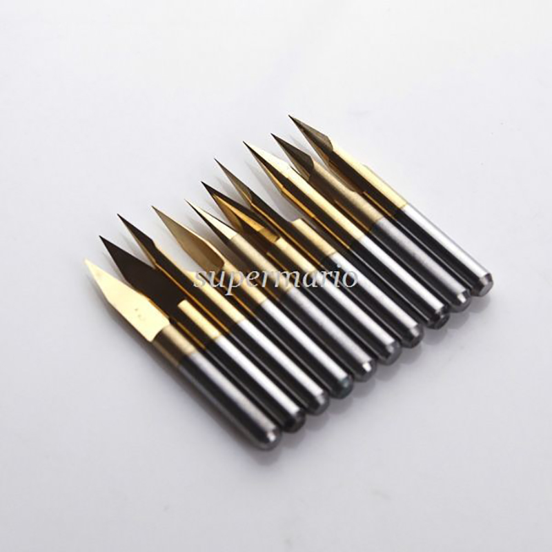 цена на SHINA 10pcs Milling Cutter Titanium Coated Knife Carbide 1/8 Shank degree 10-90 PCB Engraving Bits CNC Router Tools End Mill