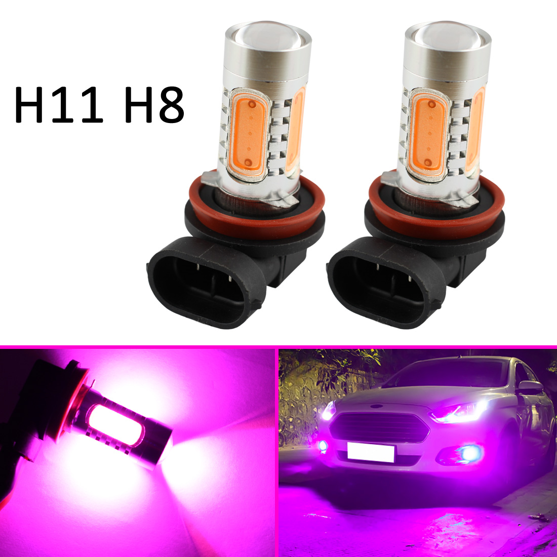 Auto LED Fog Light Foglight H11 H8 Style Fit For Car Accessories 7 5W Bulbs Driving