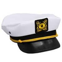 2016 New Vintage White Adjustable Skipper Sailors Navy Captain Boating Military Hat Cap Adult Party Fancy Dress Unisex NQ874923