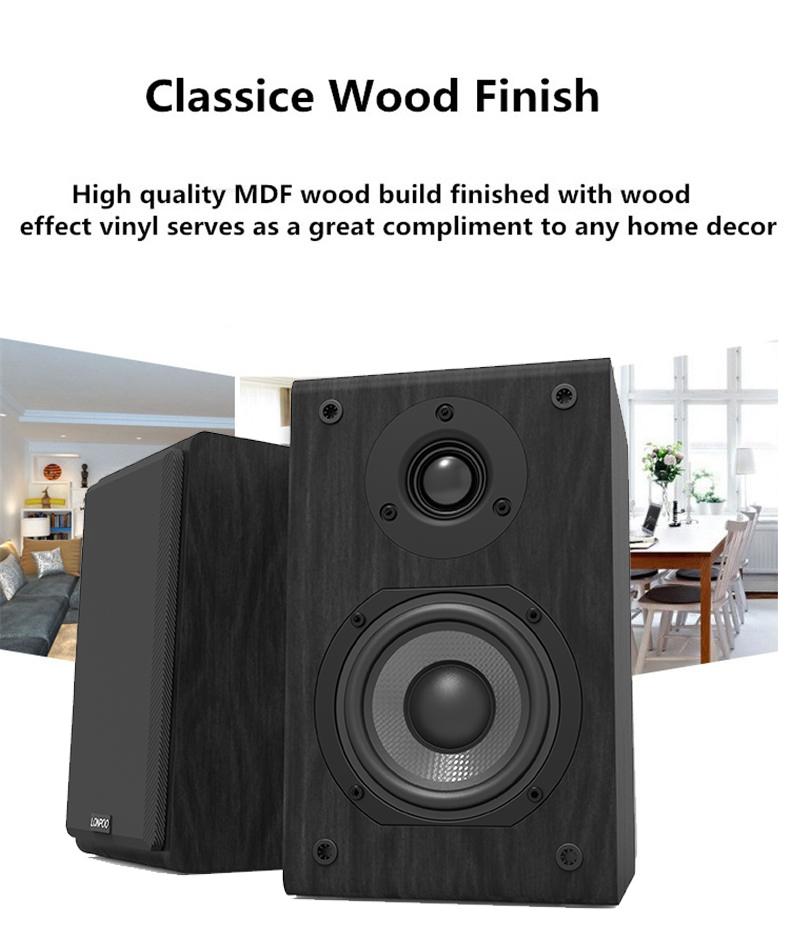LONPOO Bookshelf Speaker Passive Pair 2-Way 75W *2 Classic Wooden Loudspeaker with 4-inch Carbon Fiber Woofer Tweeter Speaker 4