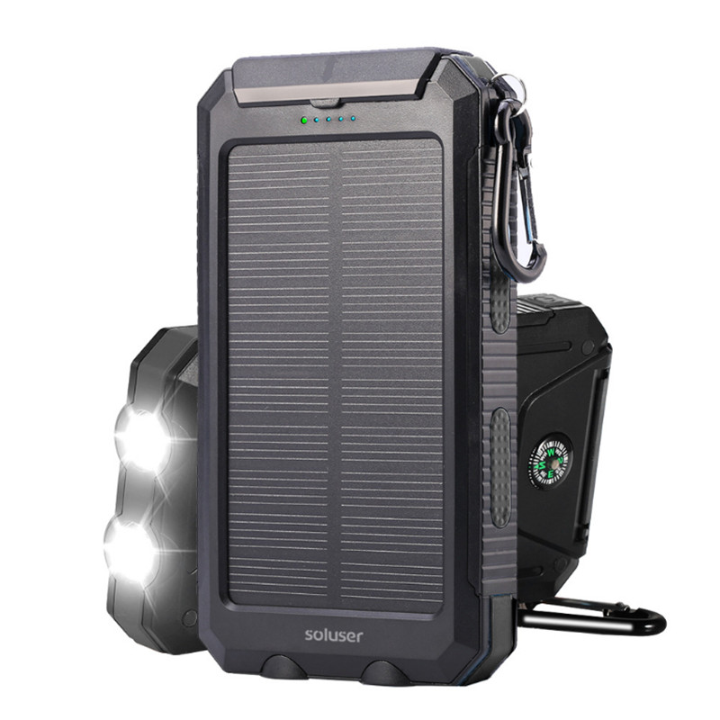 10000 mAh puissance Mobile accessoires étanche portable puissance lampe de poche batterie Mobile charge téléphone Pover banque solaire