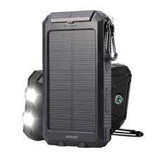 10000mAh Mobile power accessories Waterproof portable Power Flashlight Mobile Battery Charging Phone Pover Bank Solar