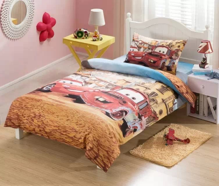 100 cotton fabric red car quilt bedding set twin kids boys cartoon comforter cover 3