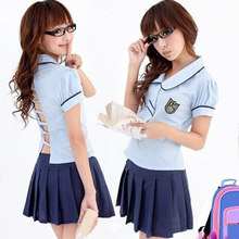 New Hot 2Pcs Set Sexy Students School Girls Uniform Role Play Women Party Clothing Adults Halloween Academy Gift(China)