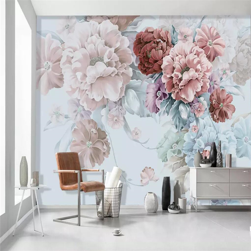 Modern warm American style living room TV background wall custom high-end mural factory wholesale wallpaper mural photo wall living room white magnolia pattern curved 3d tv background wall manufacturers wholesale wallpaper mural custom photo wall