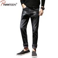 Winter Add Wool Inside Jeans For Men Warm Elastic Fleece Slim Fit Casual Pencil Jeans High
