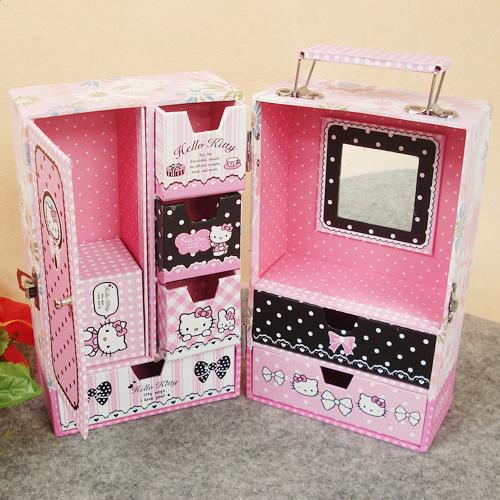 Hello Kitty Make Up Box Storage Boxes Can Hand Jewel Case
