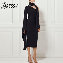 INDRESSME Sexy Slash Neck Backless Women Dress Fashion One Shoulder Full Sleeve Midi Solid Vestidos 2019 New Arrival