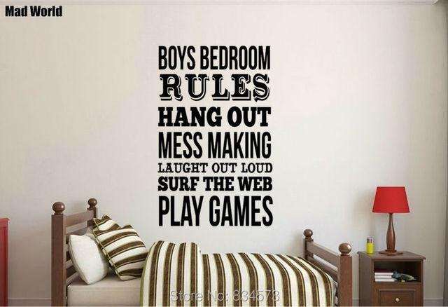 Mad wereld jongens slaapkamer regels quote wall art stickers