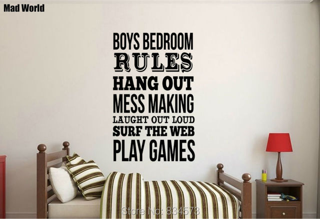 Superb Mad World Boys Bedroom Rules Quote Wall Art Stickers Wall Decal Home DIY  Decoration Removable