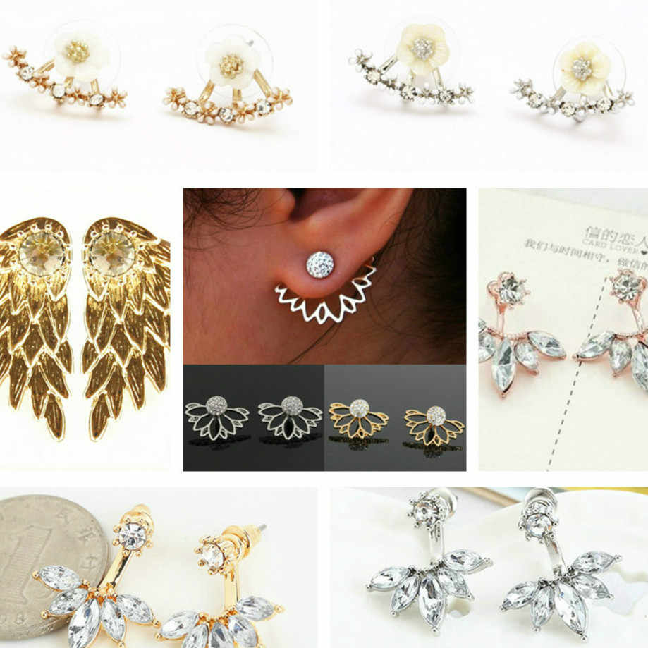 1pcs New Metalworking 2018 Luxury Hoop Earrings For Women Round With Cubic Zircon Charm Flower Earring Women Jewelry Gift