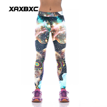 NEW KYK1044 Sexy Girl Women Starry Sky Cat Star 3D Prints High Waist Polyester Fitness Leggings Pants Plus Size