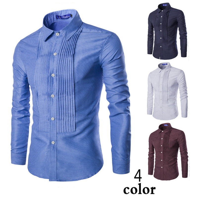 Mens Cotton Business Dot Print Shirts Casual Men Turn-down Oxford Filament Slim Shirts F ...