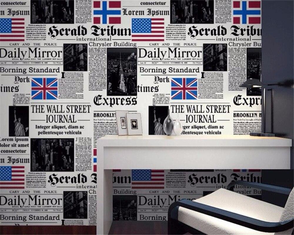 Beibehang papier peint Simple personnalité journal américain lettres anglaises 3d papier peint bar restaurant papier peint pour murs 3 D