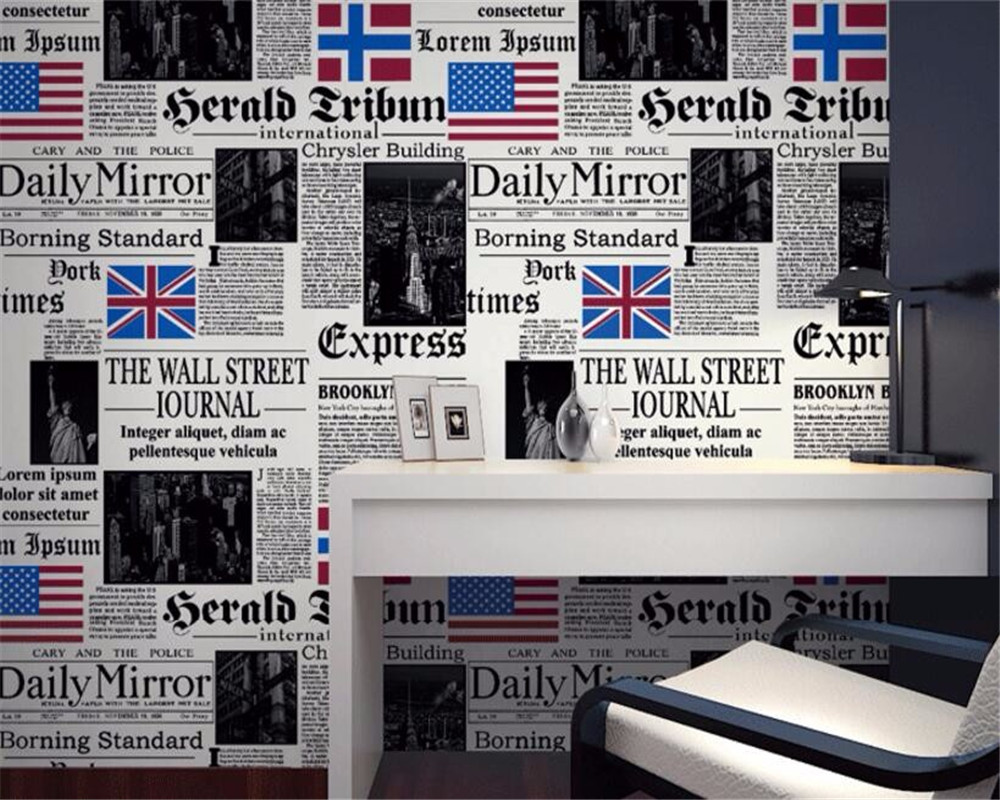 Beibehang wallpaper Simple personality American newspaper English letters 3d wallpaper bar restaurant wallpaper for walls 3 D beibehang do the old newspaper paper english newspaper news pvc wallpaper library coffee shop restaurant background wallpaper