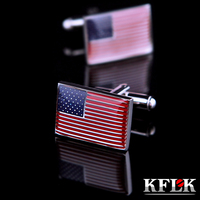 KFLK Jewelry American Flag Shirt Cufflinks For Mens Brand Cuff Buttons Cuff Links High Quality Gemelos