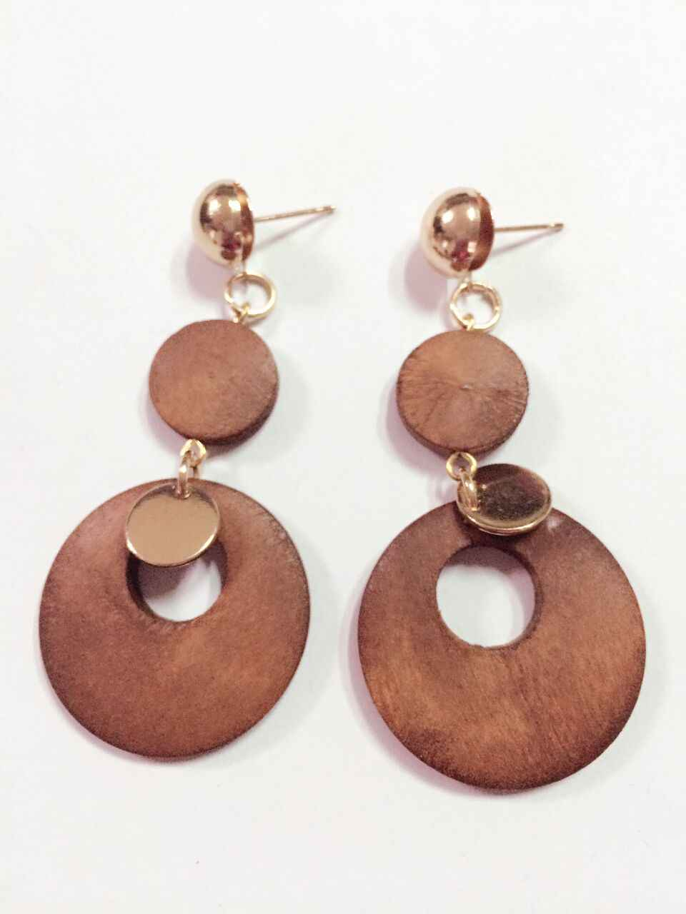 good quality  african wood earrings jewelry pair 2016  new design   round  personality hollow  latest