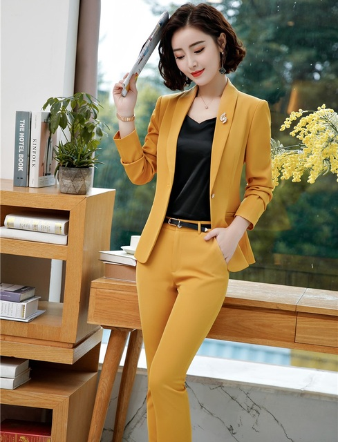 d2666a4f0b Fashion Yellow Autumn and Winter Business Suits With Jackets And Pants For  Ladies Office Professional Uniform Styles Pants Suits