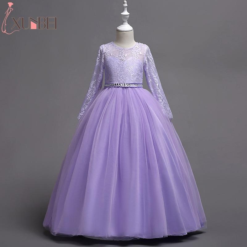 Long Sleeves Ball Gown   Flower     Girl     Dresses   2019 Beaded Sash Floor Length Communion   Dresses   Kids Prom   Dresses   vestido daminha