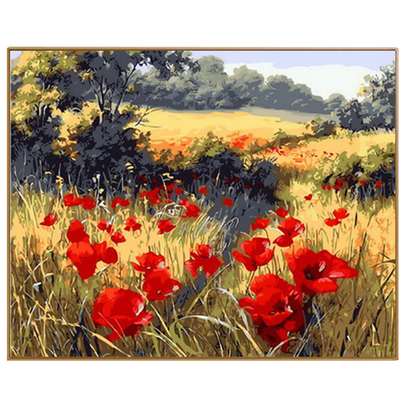PHKV Autumn Field Landscape Red Flowers Diy Oil Painting By Number Canvas Quality Hand Paint Digital Painting Decoration Picture