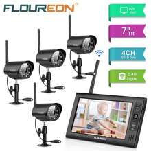 FLOUREON 7'' LCD 4CH wireless CCTV monitor DVR security Camera system Wireless Night Vision 4pcs Security Surveillance Cameras