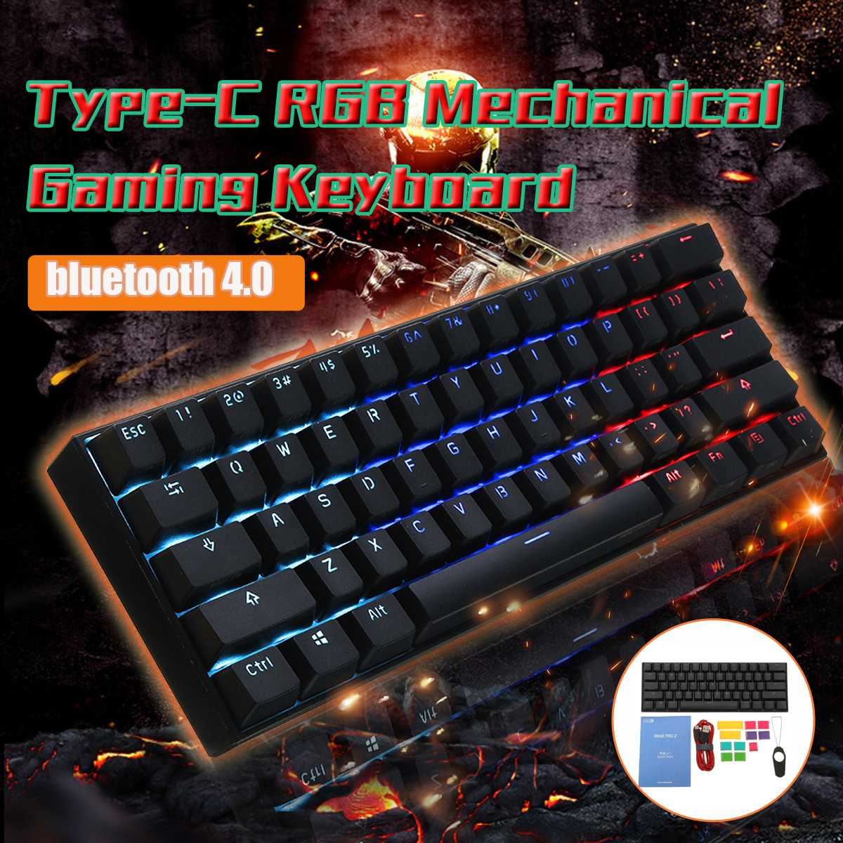 LEORY Cherry Switch Obins Anne Pro 2 60% NKRO blue tooth 4.0 and Type-C USB-C Dual Mode Connection  Mechanical Gaming Keyboard ducky one cherry mx red