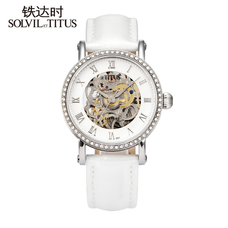 42ef7ff22 Titus stainless steel mechanical cutout ss1 fashion waterproof vintage  strap ladies watch 06 - 2361 - 001