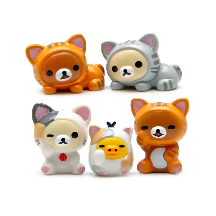 5pcs/lot Japanese Anime Rilakkuma Bear Cosplay Chi's Sweet Home Cat <font><b>Mini</b></font> <font><b>PVC</b></font> <font><b>Action</b></font> Figure Toys Collection Model Kids Toys