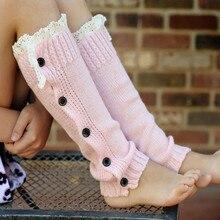 Зимние теплые вязаные гетры на пуговицах с кружевной отделкой; вязаные носки для обуви; детские розовые гетры