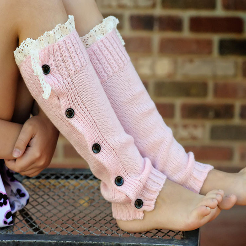 Winter Warm Knitted Lace Trim Buttons Down Leg Warmers Crochet Boot Socks Children Pink Boot Cuffs kemekiss women warm plush warm snow boots for women thick platform ankle botas female thick fur winter footwear size 36 40