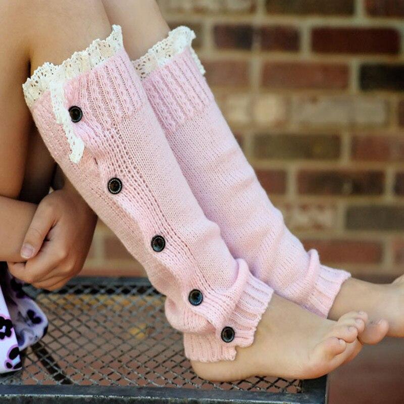 Radient Winter Warme Strickspitzenbesatz Tasten Down Stulpen Häkeln Boot Socken Kinder Rosa Boot Manschetten
