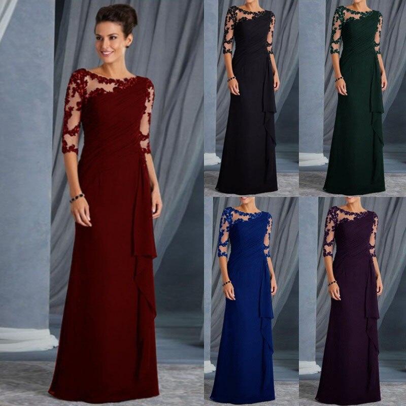New Floor Length Women Evening Dress Sexy Lace Slim 3/4 Sleeve Vestidos Elegant Wedding Party Mother Of Bride Dresses Gown