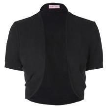 Belle Poque Stock Women Ladies Jacket Short Sleeves Pleated Sides Shrug Bolero Comfortable Cotton Open Stitch Solid  Slim Coats