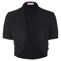 Belle Poque Stock Women Ladies Jacket Short Sleeves Pleated Sides Shrug Bolero Comfortable Cotton Open Stitch