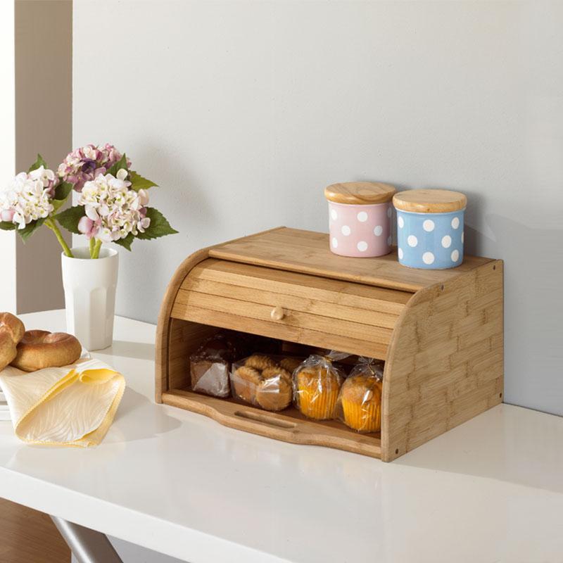 Δημιουργική μπαμπού ψωμιού Σκόνη-Proof περίπτωση Ευρώπη Style Eco Κουζίνα αποθήκευσης κάτοχοι Φυσικό ξύλο πίνακα οργάνωση αποθήκευσης κουτί