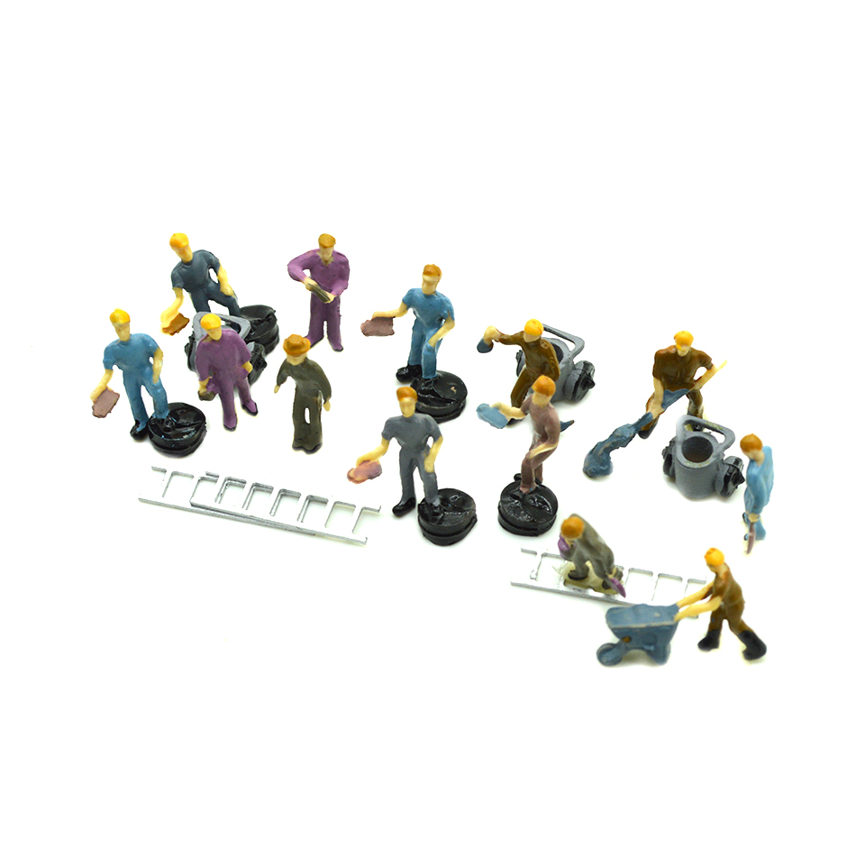 100pcs HO Scale Painted Mixed Model Train Railway Worker People <font><b>Figures</b></font> 1:87 Scale image
