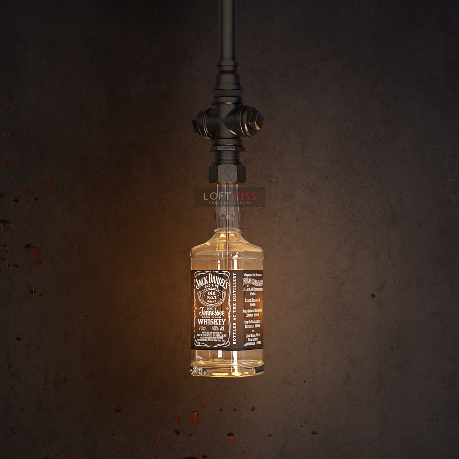 Vintage water pipe pendant lights industrial concrete style glass vintage water pipe pendant lights industrial concrete style glass bottle lighting jack daniel bottle lamp pendant lighting in pendant lights from lights arubaitofo Gallery
