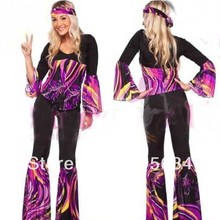 Free Shipping Ladies 60s 70s Retro Hippie Go Go Girl Disco Costume Hens  Party Fancy Dress a7e6de2cb5a3