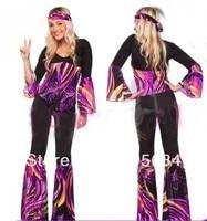Free Shipping Ladies 60s 70s Retro Hippie Go Go Girl Disco Costume Hens Party Fancy Dress S M L XL 2XL
